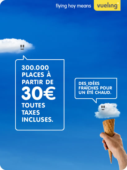 Vueling: 300.000 places à partir de 30€ toutes taxes incuses.